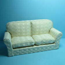 Dollhouse Miniature Living Room Couch Sofa with Cream Plaid Fabric T6496