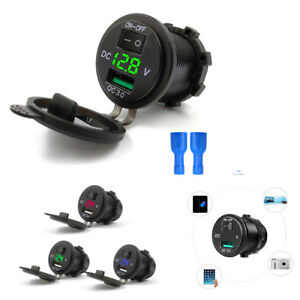 3IN1 12/24V 3 Colors LED Car Boat Marine Switch USB 3.0 Quick Charger Voltmeter