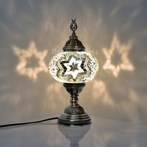 Turkish Moroccan Mosaic Table or Bedside Lamp,mosaic lamp XL Globe White Colour