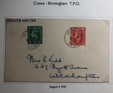 1947 Birmingham Crewe England Postcard Cover Traveling Post Office