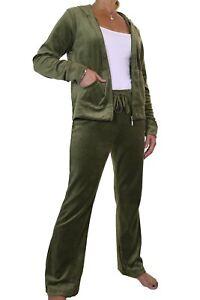 Ladies Full Figure Soft Velour Hood Tracksuit Large Sizes Khaki 10-20