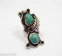 Vintage Navajo Large Sterling Silver & Turquoise Ring, signed JB, Feather, 8