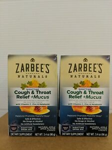 Lot of 2-Zarbee's Naturals Cough & Throat Relief + Mucus Nighttime Apple Spice