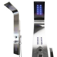 Acier Inox Spazzolato LED Colonna Doccia a Pioggia Cascata Massaggio Sanlingo