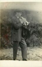 c1907 Amateur RPPC Postcard; Young Man in Suit Plays Trumpet, Music, Unknown US