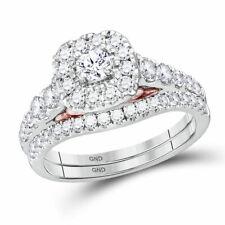 14kt White Gold Round Diamond Bridal Wedding Engagement Ring Band Set 1.00 Ctw