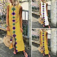Women Sleeveless Floral Print Long Shirt Dress Summer Tank Dress Shirt Dress US
