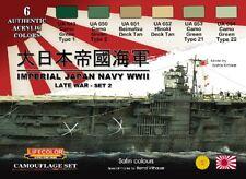 LIFECOLOR Japan WWII Late War Set #2 Camouflage Paint Acrylic Set 6 22ml Bottles