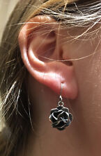 Vintage, Solid Sterling Silver, Rose Earrings For Pierced Ears. Mexico 1970s.