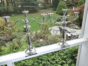 MONUMENTAL CHICAGO SILVER CO ART DECO SOLID STERLING SILVER CANDELABRA,EXCELLENT