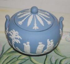 Vintage Wedgwood Blue Jasperware Sugar Bowl with Lid, 86 Made in England