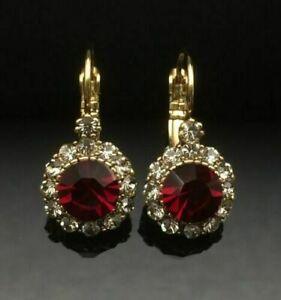 3CT Round Cut Diamond Red Ruby D/VVS1 Wedding Drop Earring 14K Yellow Gold Over