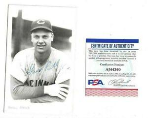 Gus Bell Cincinnati Reds Baseball Autographed B&W Postcard Photo PSA COA