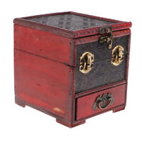 Retro Wooden Jewelry Storage Box Treasure Chest Organizer Home Decor 14x12cm