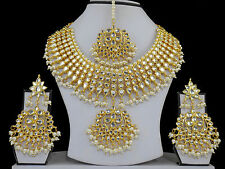 UK Indian Wedding Kundan White Necklace Earring Tikka Fashion Bridal Jewelry Set
