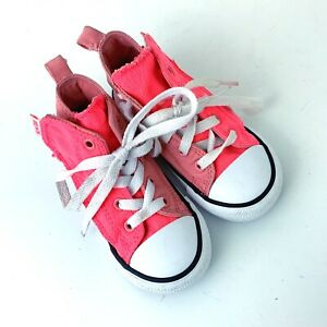 Converse All Stars Bright Neon Pink High Top Girls Sneakers Infant Size 7
