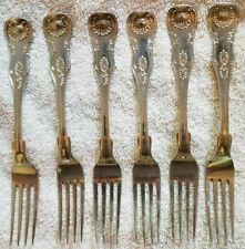 Wilson Kings design set of 6 Coin silver Luncheon/Dessert forks back mono Knight