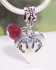 Twins Footprint Heart January Birthstone Dangle Bead for Euro Charm Bracelets