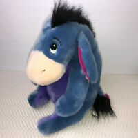"The Disney Store EEYORE Purple Blue 12"" Sitting Plush Attached Tail Bow NEW Tags"