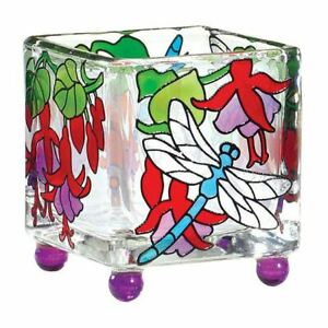 Candle Holder Dragonfly Fuchsias Art Glass Mini Tea Light