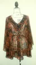 COLDWATER CREEK Womens M Beaded Sheer Beach Bathing Suit Cover Up Top Blouse NEW