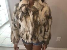 White Brown Section Rabbit Fur Jacket - Size M