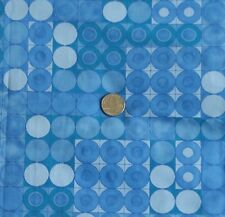 "Vintage Cotton Fabric BLUE GREEN CIRCLE GEOMETRIC by M. Lowenstein 37"" Wide BTY"