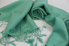 P228  NWT Green Color  Pashmina Silk Shawl/ Wrap Hand Woven In Nepal