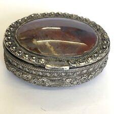 Fine Antique Regency 19th Century Agate Probably Silver Snuff Box Unusual 4.5cm