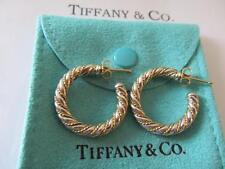 Vintage Tiffany & Co.18K & Sterling Silver Rope Hoop Earrings Large