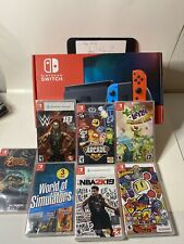 Nintendo Switch Bundle 32GB Red/Blue Console 7 Games Bundle WWE Namco NBA Kids