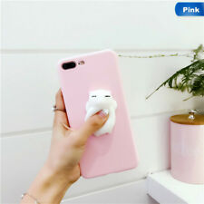 2018 Squishy 3D Soft Silicone Cat Bear TPU Phone Case Cute Cover For iPhone