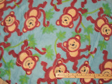Monkey Around on Blue Fleece Fabric by the Yard