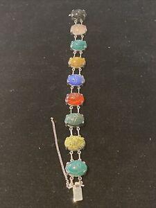"""Vintage Silver Gemstone Scarab Bracelet MARKED 7 1/2"""" 9 Gems"""