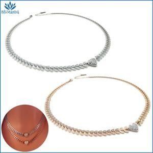 Collana girocollo da donna con cuore in acciaio inox zirconi bianchi catenina a