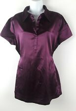 Apt. 9 Womens Stretch Satin Blouse Size XL Popover Ties at Back