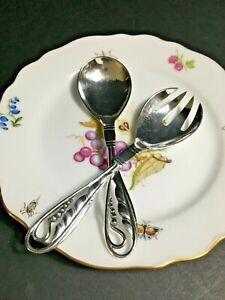 Georg Jensen 800 Silver Spoon and Fork Serving Set  Vintage Pattern 42