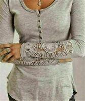 Fashion Women Long Sleeve Shirt Casual Lace Blouse Loose Cotton Tops TShirt 2018