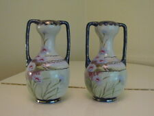 """Matching Vases Nippon Moriage Hand Painted Marked 12"""" Tall"""