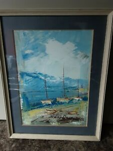 Vintage Original Seascape / Boats - Oils / Acrylic (?).