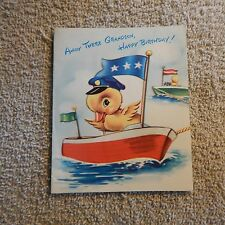 Vintage Birthday Card, Polyyanna 5JR5531, GRANDSON Captain Lil' Duck in Boat