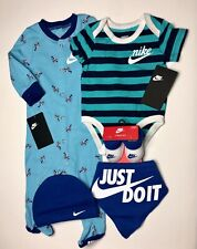 AIR NIKE Baby Boys 5 pc GIFT SET: Jumpsuit, Bodysuit, Bib, Cap & Booties.3-6 M.