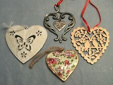 Valentine Heart Shaped 4 Ornaments Wood & Metal Friendship Love Birds Roses