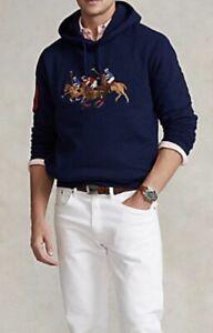 New Mens Polo Ralph Lauren Triple-Pony Fleece Hoodie, Blue Large TL RRP £155