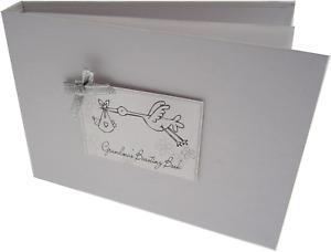 White Cotton Cards Value Range Grandma's Boasting Book Baby Stork Design Tiny