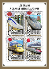 Central African Rep 2016 MNH Japanese High Speed Trains Shinkansen 4v M/S Stamps