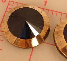 """2 large Czech glass faceted shank buttons jet center gold edge 1.25"""" 32mm #746"""