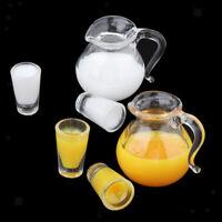 2 Set 1:12 Getränkflasche Saft Milch Tassen Puppenhaus Miniatur Küche Zubehör