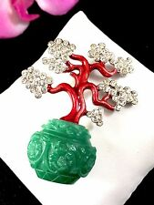 RARE KENNETH J. LANE FAUX JADE RHINESTONE FORBIDDEN CITY BONSAI TREE BROOCH