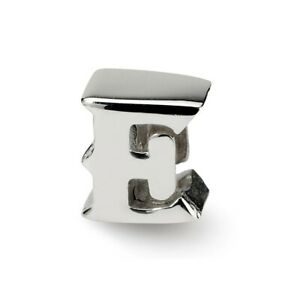 Initial Letter E Bead .925 Sterling Silver Reflection Beads